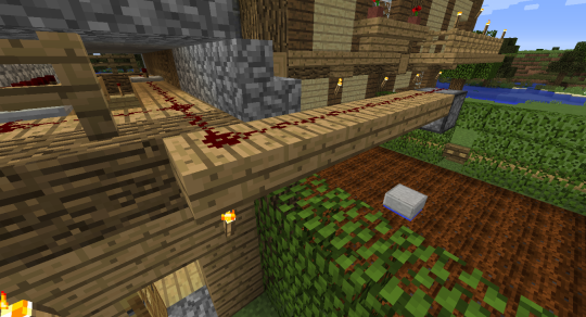 Both lines join up and head out to a Dispenser that faces downward directly over the center of my wheat farm.