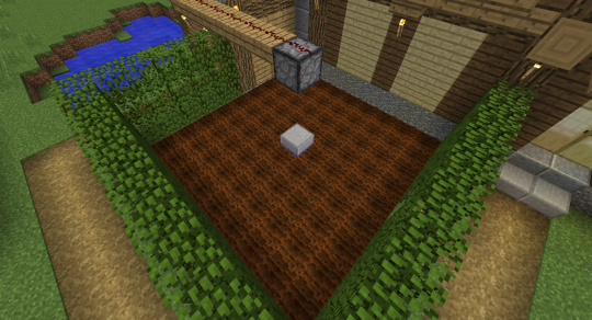 Adjacent to my ugly vanilla house, I now have a basic 9x9 farm, surrounded by Oak Leaves blocks (I'll explain the reason below). The shed in the upper corner houses the observer and some redstone magic.