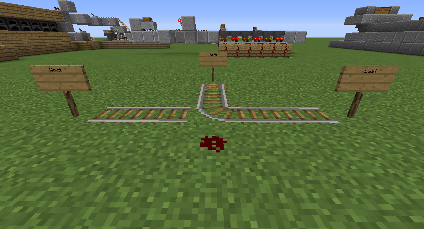 Simple Redstone Device Advanced Minecart Loading Mine Build Eat Minecraft How To Make An Instant Off Delayed On Circuit If The Straight Track Is Along X Axis East West Unpowered Intersection Points