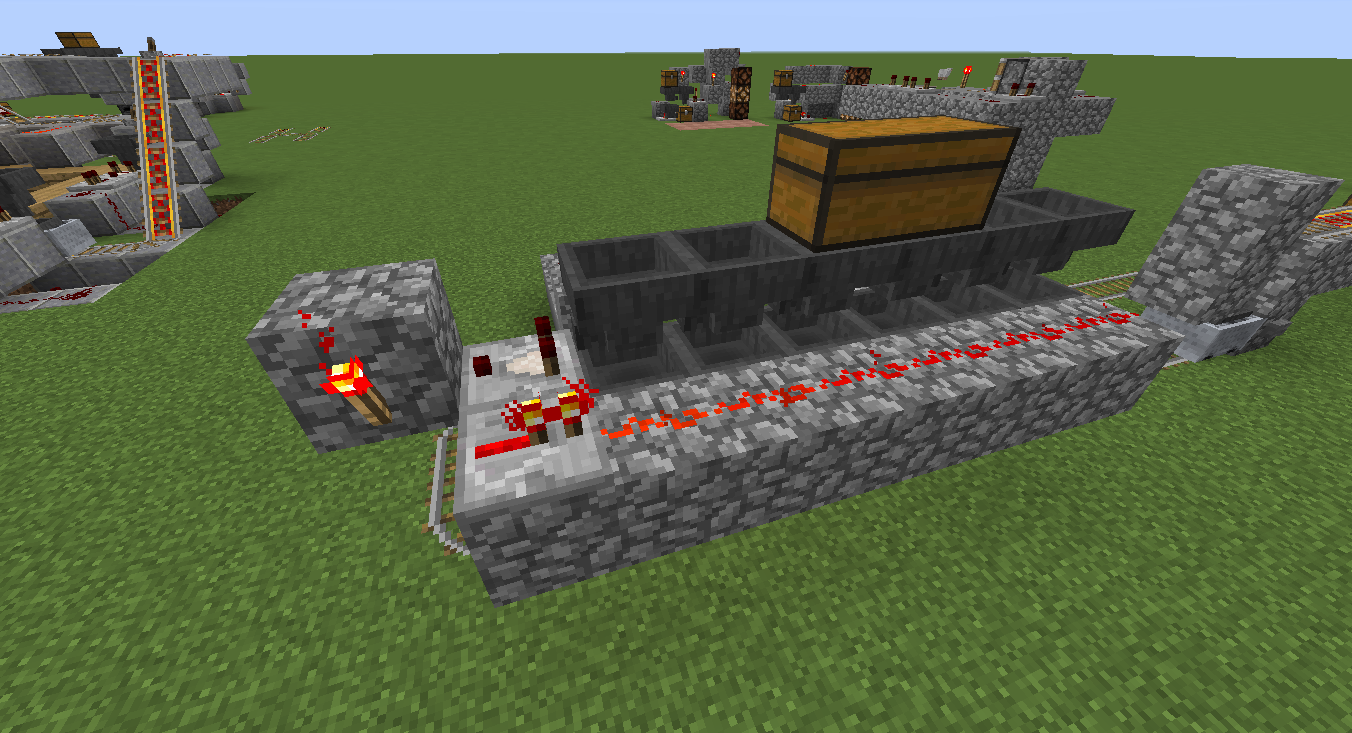 Simple Redstone Device Advanced Minecart Loading Mine Build Eat Minecraft How To Make An Instant Off Delayed On Circuit The Bottom Row Of Hoppers Is Disabled By This Line Until Item Enters South Most Hopper Upper Level Next