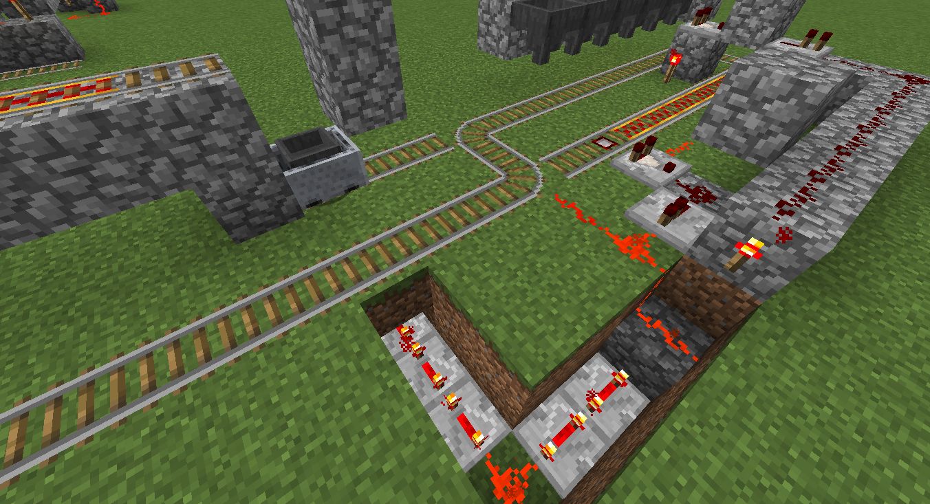 Simple Redstone Device Advanced Minecart Loading Mine Build Eat Minecraft How To Make An Instant Off Delayed On Circuit Beneath The Hopper Cart Here Is A Powered Rail Sitting Grass Block Above Torch By Default That Disabled Signal At